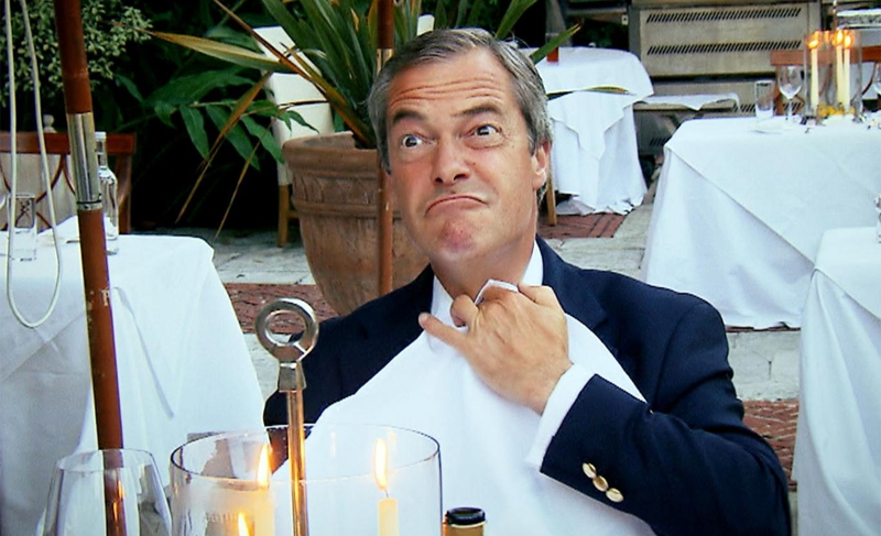 Farage: about to feed on your babies.